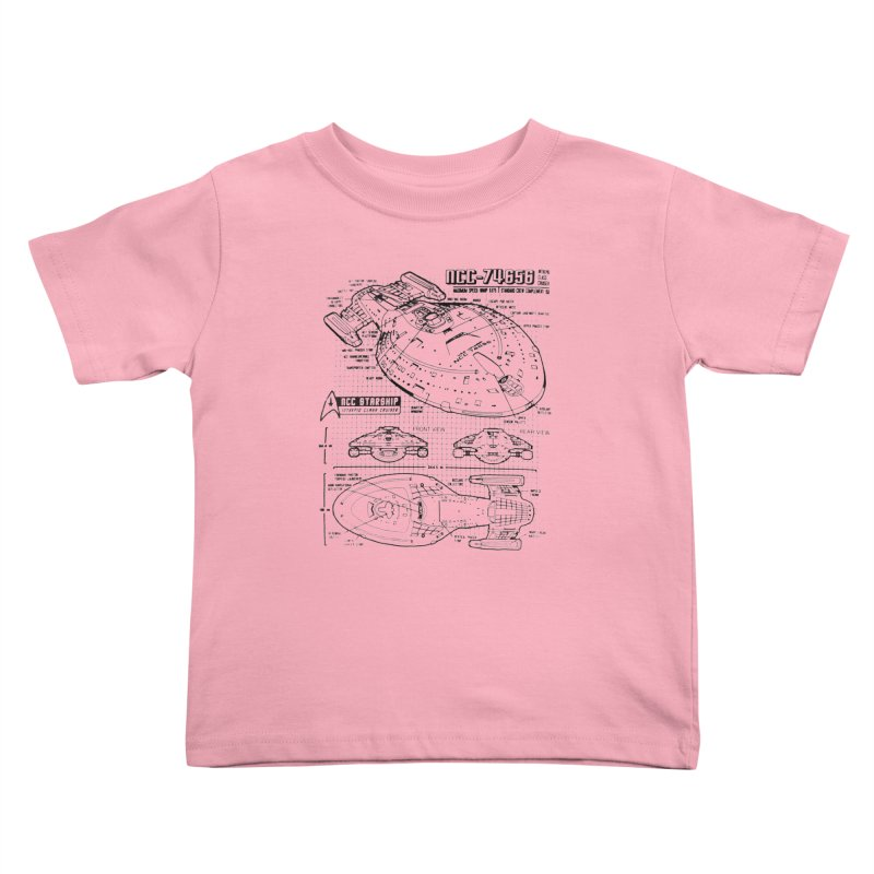 USS Voyager NCC-74656 blueprint Kids Toddler T-Shirt by To Boldly Merch