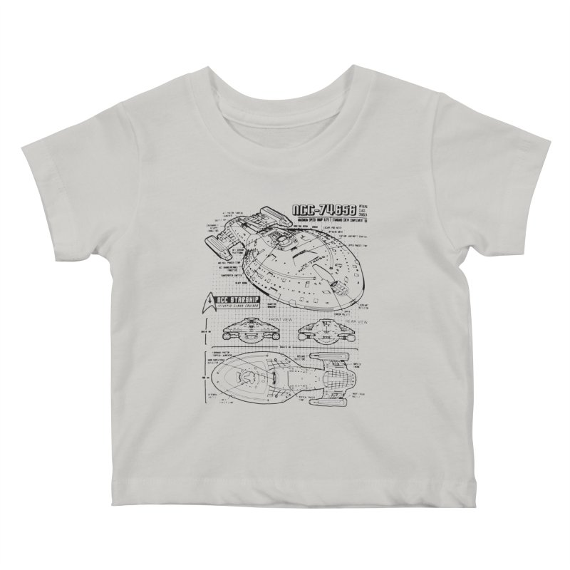 USS Voyager NCC-74656 blueprint Kids Baby T-Shirt by To Boldly Merch
