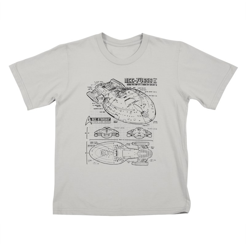 USS Voyager NCC-74656 blueprint Kids T-Shirt by To Boldly Merch