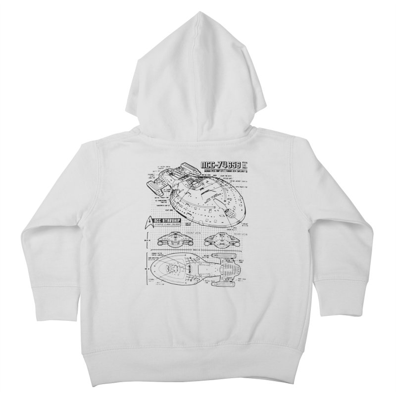 USS Voyager NCC-74656 blueprint Kids Toddler Zip-Up Hoody by To Boldly Merch