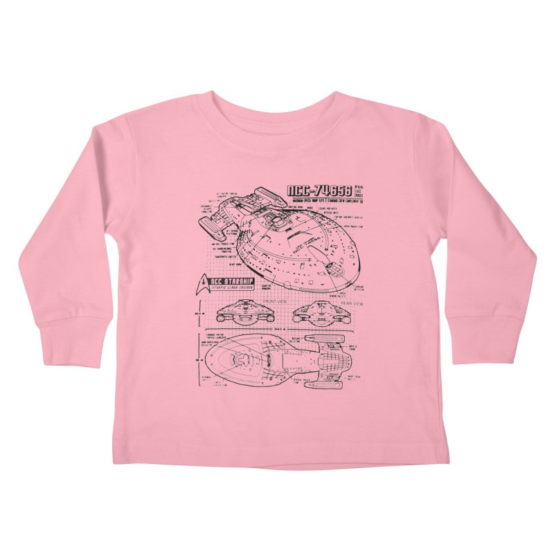 USS Voyager NCC-74656 blueprint Kids Toddler Longsleeve T-Shirt by To Boldly Merch