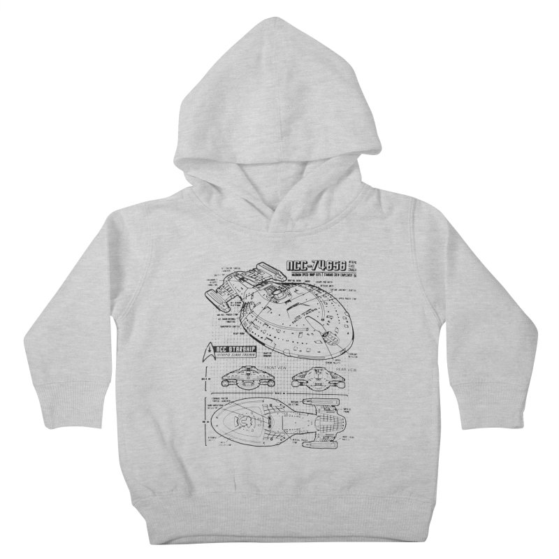 USS Voyager NCC-74656 blueprint Kids Toddler Pullover Hoody by To Boldly Merch