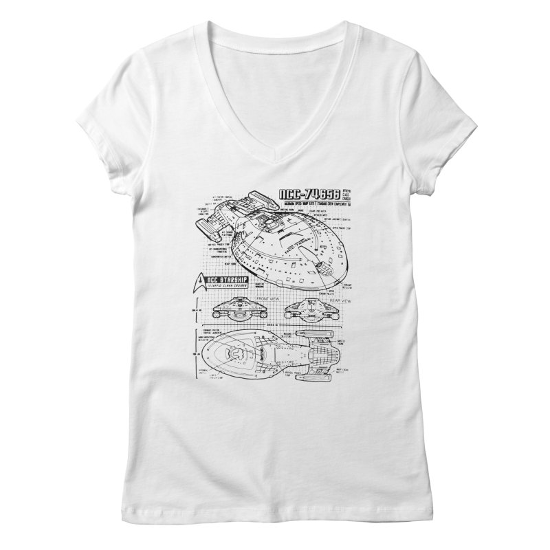 USS Voyager NCC-74656 blueprint Women's V-Neck by To Boldly Merch