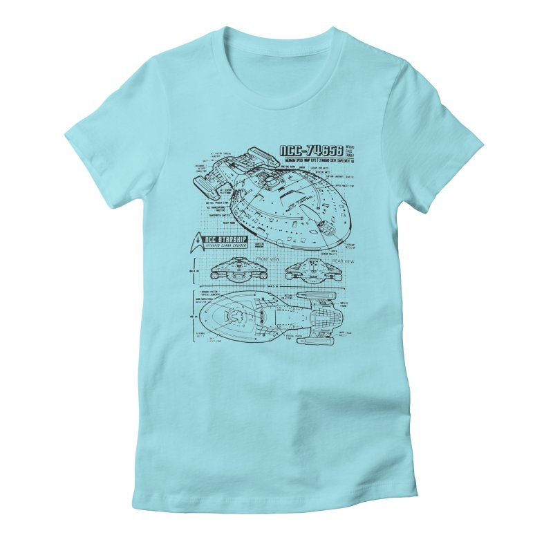 USS Voyager NCC-74656 blueprint Women's Fitted T-Shirt by To Boldly Merch