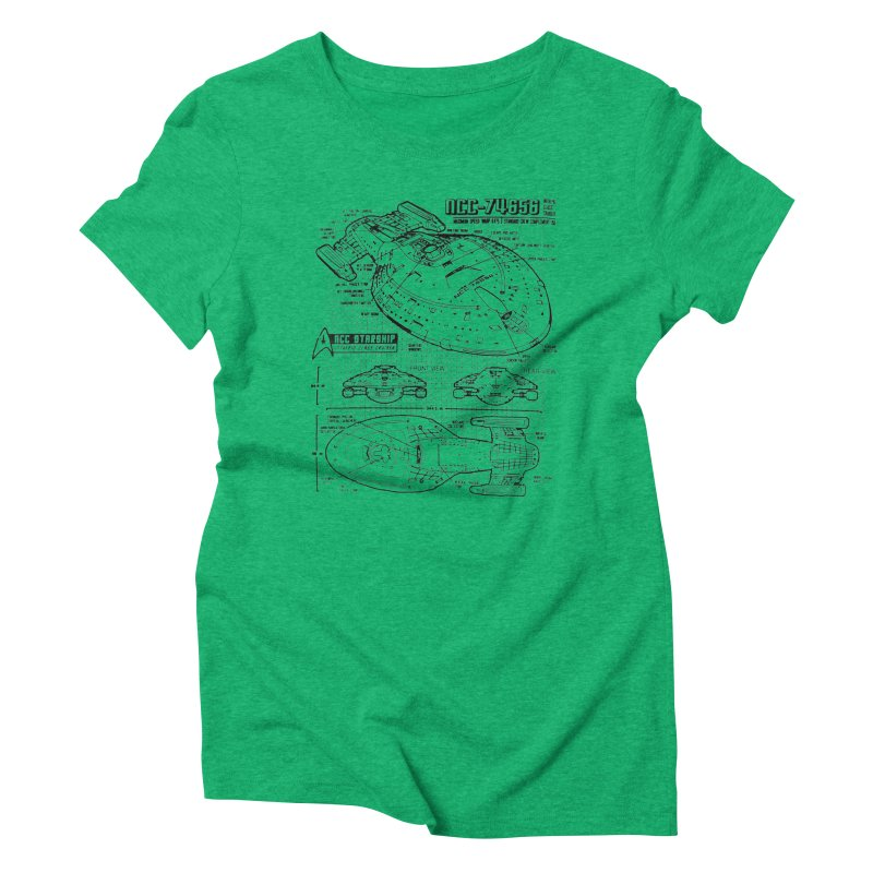 USS Voyager NCC-74656 blueprint Women's Triblend T-Shirt by To Boldly Merch
