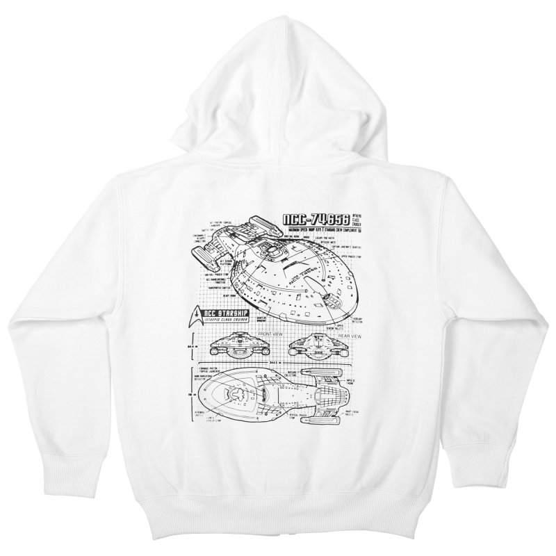 USS Voyager NCC-74656 blueprint Kids Zip-Up Hoody by To Boldly Merch