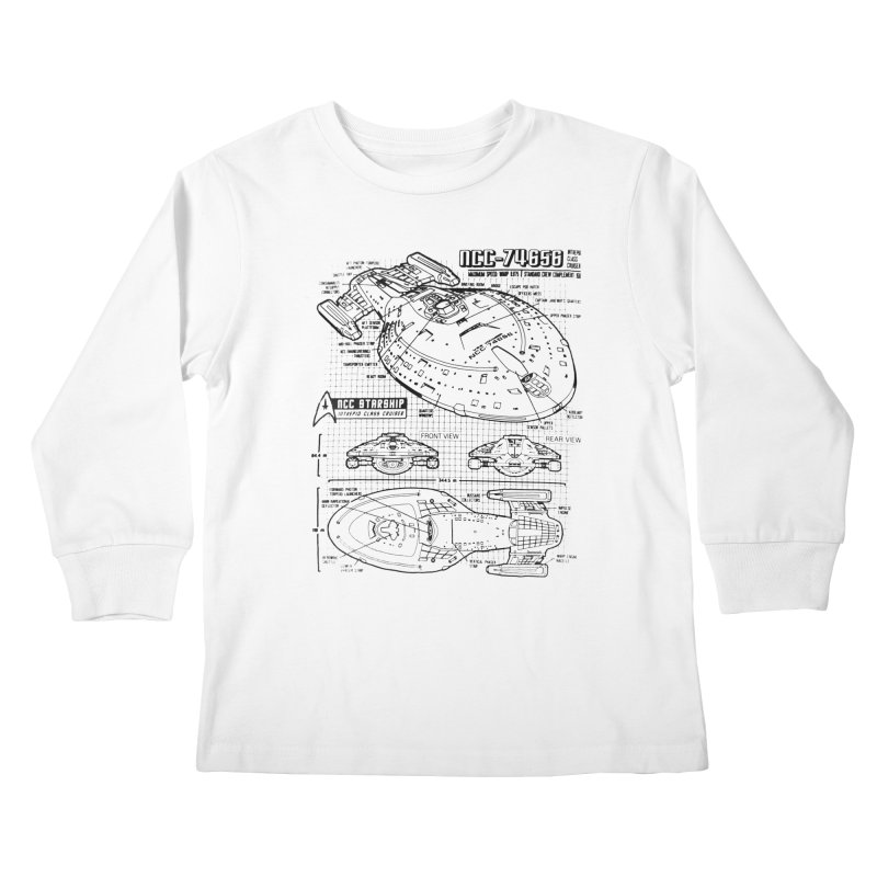 USS Voyager NCC-74656 blueprint Kids Longsleeve T-Shirt by To Boldly Merch