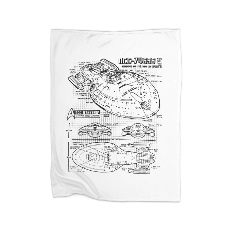 USS Voyager NCC-74656 blueprint Home Blanket by To Boldly Merch