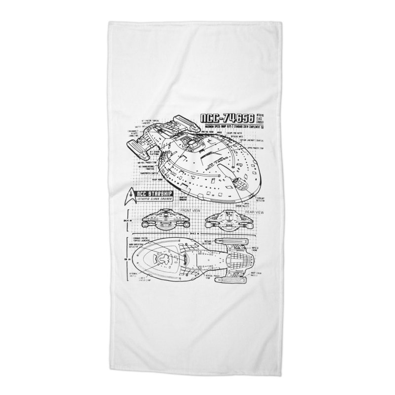USS Voyager NCC-74656 blueprint Accessories Beach Towel by To Boldly Merch