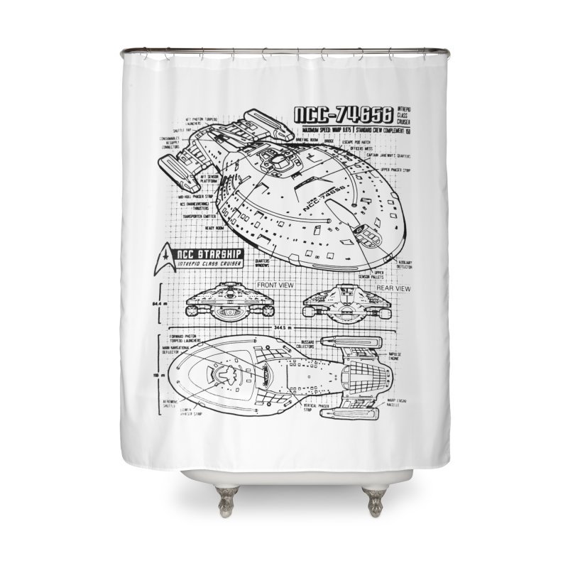 USS Voyager NCC-74656 blueprint Home Shower Curtain by To Boldly Merch