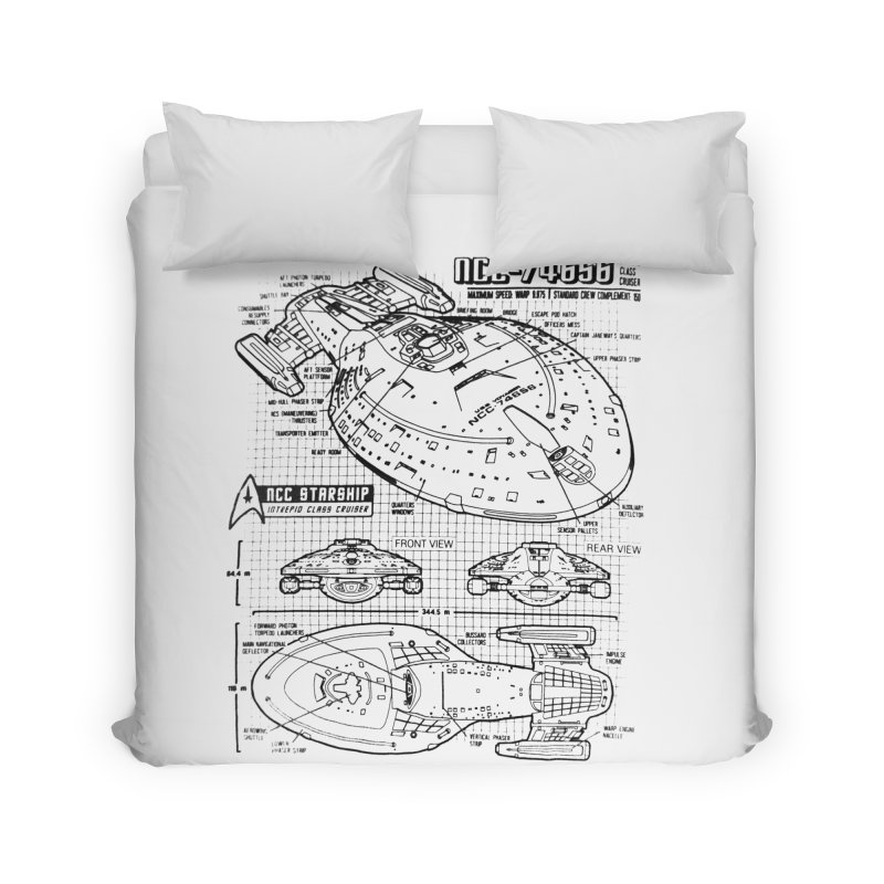 USS Voyager NCC-74656 blueprint Home Duvet by To Boldly Merch