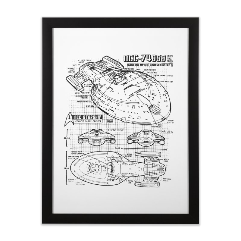 USS Voyager NCC-74656 blueprint Home Framed Fine Art Print by To Boldly Merch