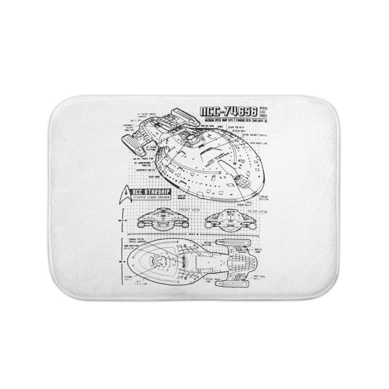 USS Voyager NCC-74656 blueprint Home Bath Mat by To Boldly Merch