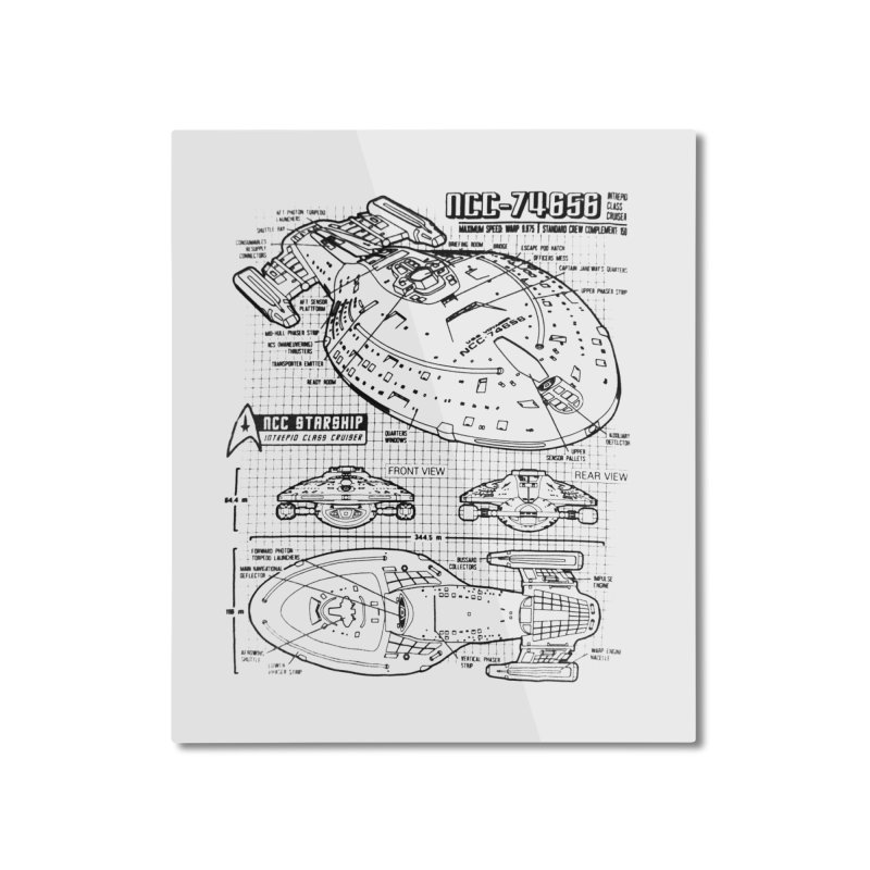 USS Voyager NCC-74656 blueprint Home Mounted Aluminum Print by To Boldly Merch