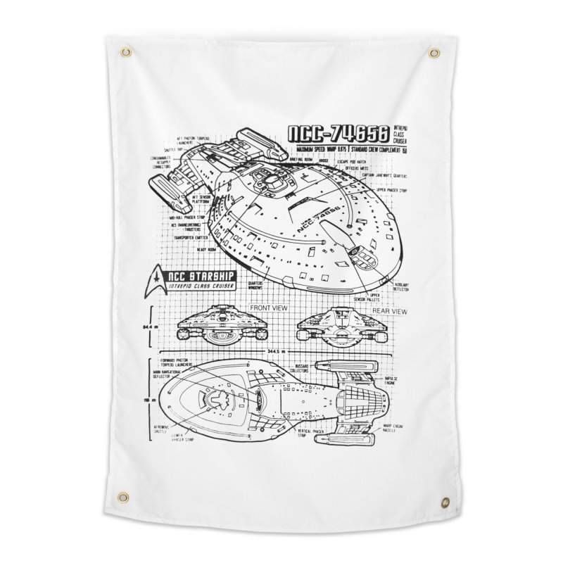 USS Voyager NCC-74656 blueprint Home Tapestry by To Boldly Merch