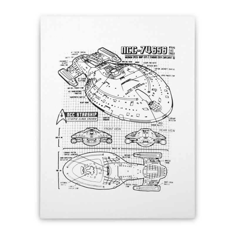USS Voyager NCC-74656 blueprint Home Stretched Canvas by To Boldly Merch