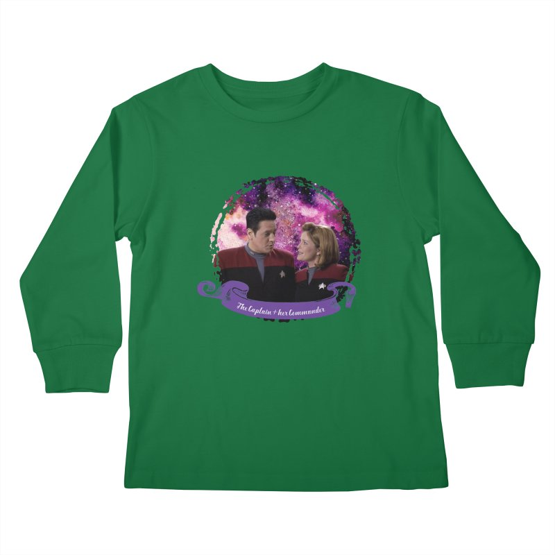The Captain and her Commander Kids Longsleeve T-Shirt by To Boldly Merch