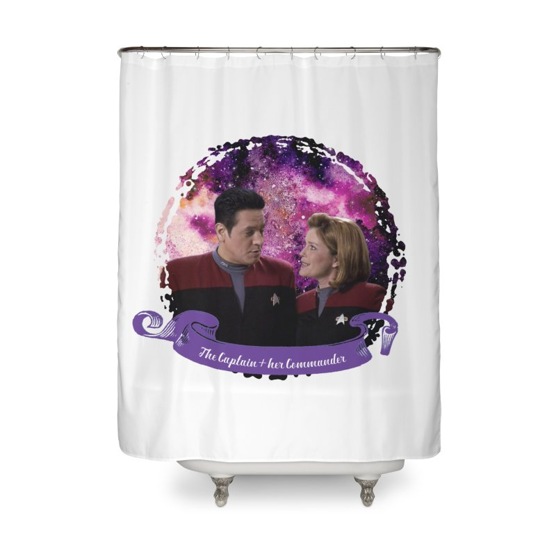 The Captain and her Commander Home Shower Curtain by To Boldly Merch