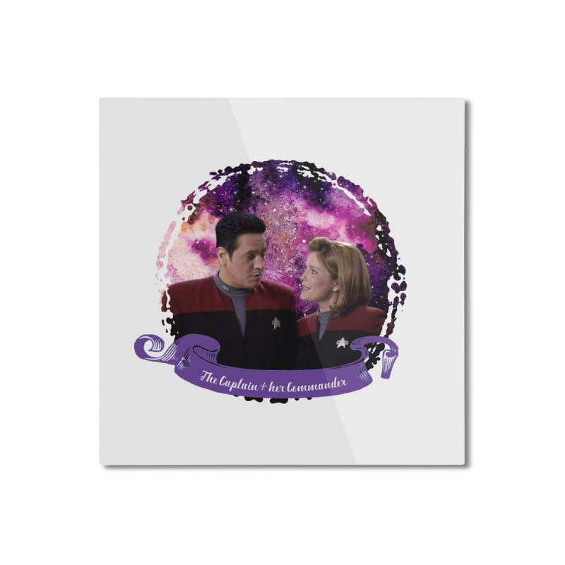 The Captain and her Commander Home Mounted Aluminum Print by To Boldly Merch