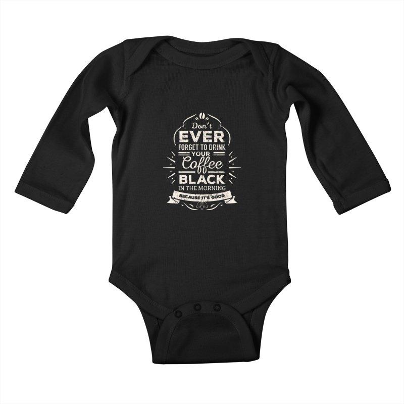 Coffee Black Mornings Kids Baby Longsleeve Bodysuit by To Boldly Merch