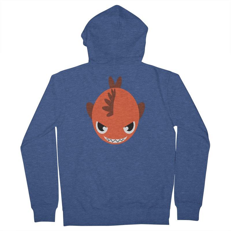 Orange piranha Women's French Terry Zip-Up Hoody by Kiemura Merchandise
