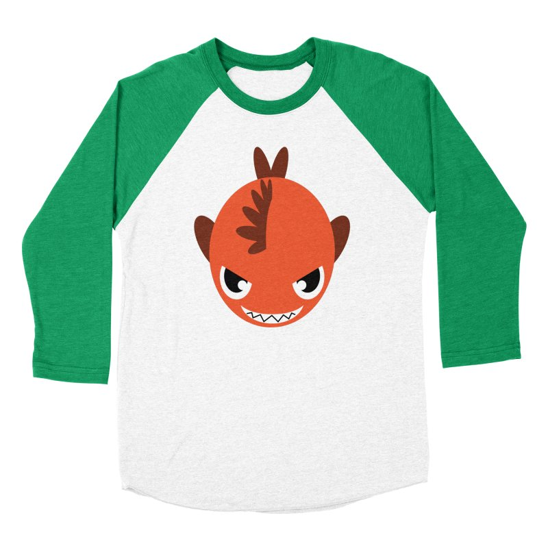 Orange piranha Men's Baseball Triblend T-Shirt by Kiemura Merchandise