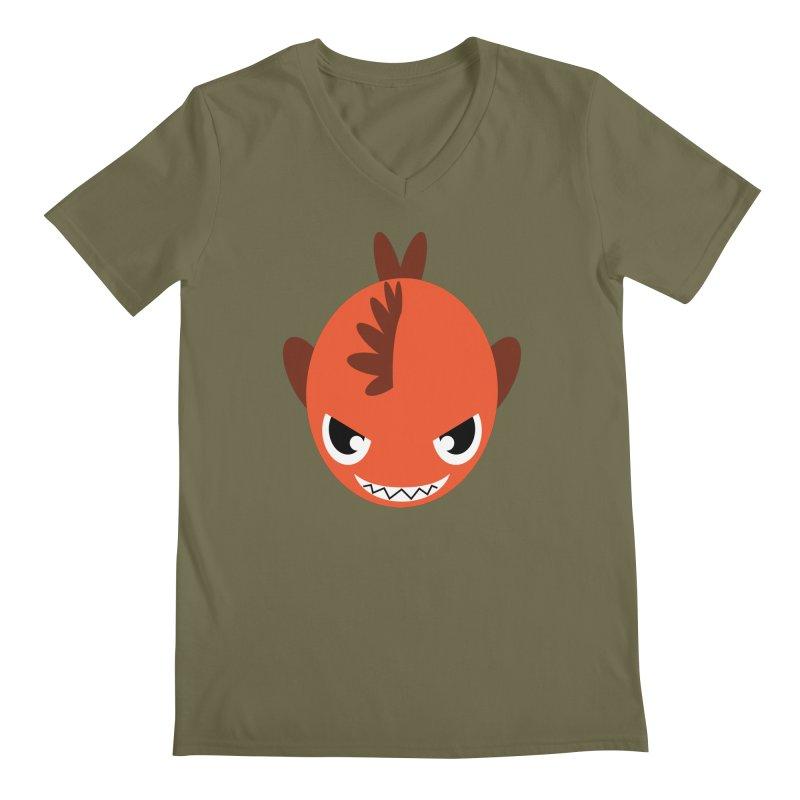 Orange piranha Men's Regular V-Neck by Kiemura Merchandise