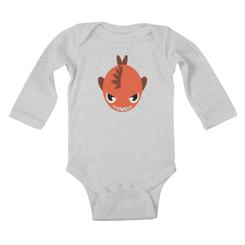 Orange piranha Kids Baby Longsleeve Bodysuit by Kiemura Merchandise