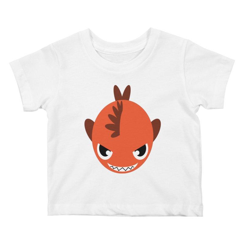 Orange piranha Kids Baby T-Shirt by Kiemura Merchandise