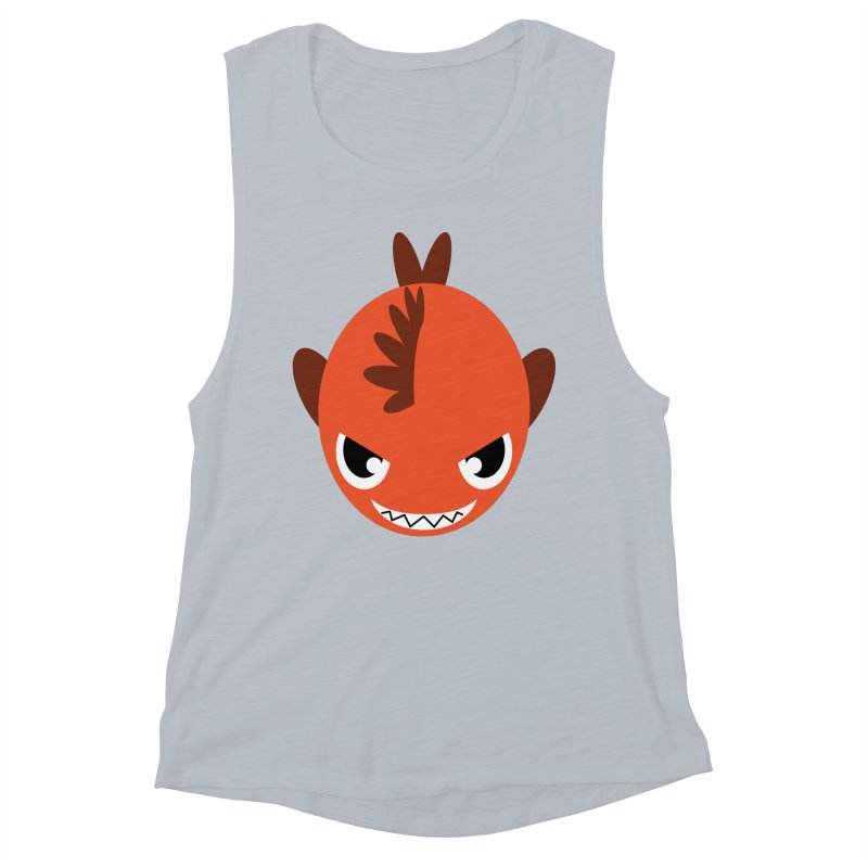 Orange piranha Women's Muscle Tank by Kiemura Merchandise