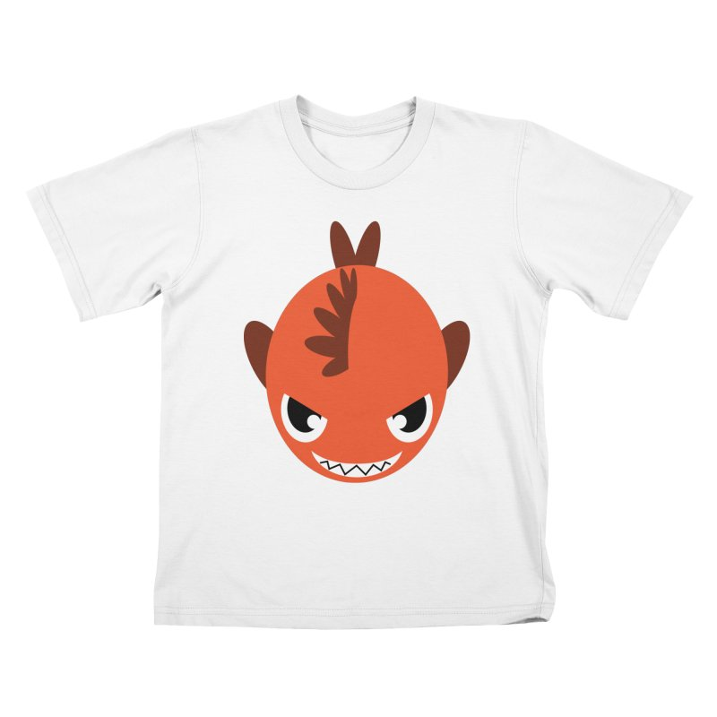 Orange piranha Kids T-Shirt by Kiemura Merchandise