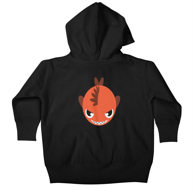 Orange piranha Kids Baby Zip-Up Hoody by Kiemura Merchandise