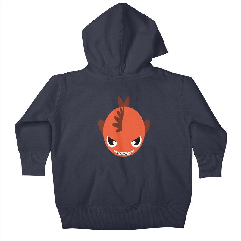 Orange piranha Kids Baby Zip-Up Hoody by Kiemura Merchandise