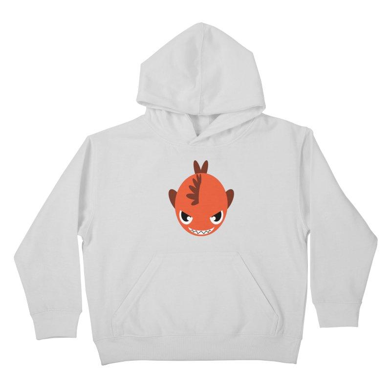 Orange piranha Kids Pullover Hoody by Kiemura Merchandise
