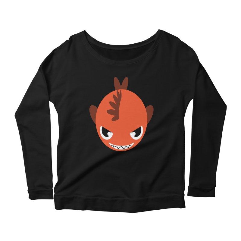 Orange piranha Women's Scoop Neck Longsleeve T-Shirt by Kiemura Merchandise