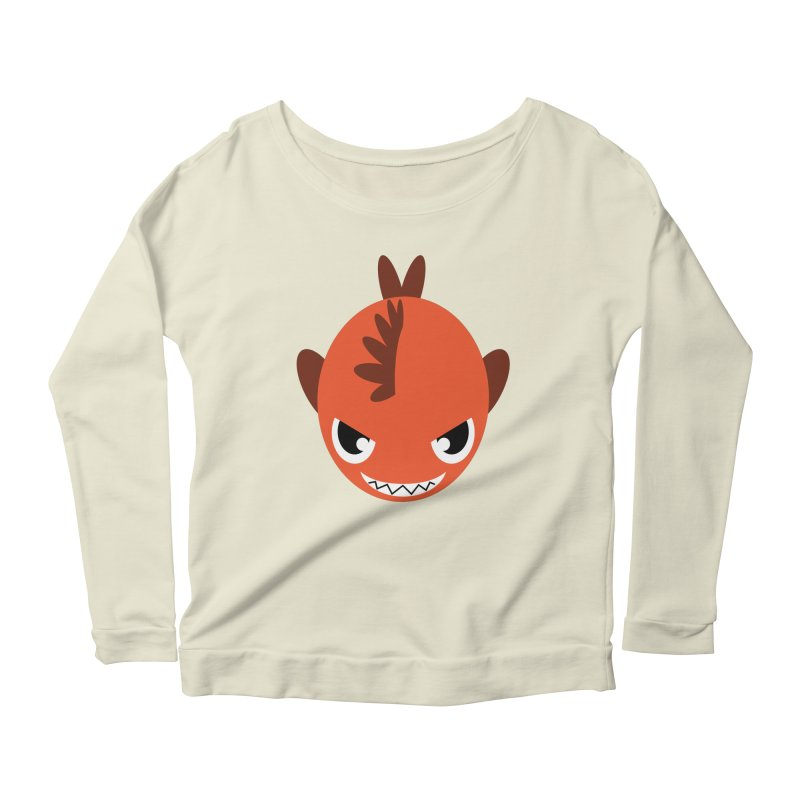 Orange piranha Women's Longsleeve Scoopneck  by Kiemura Merchandise