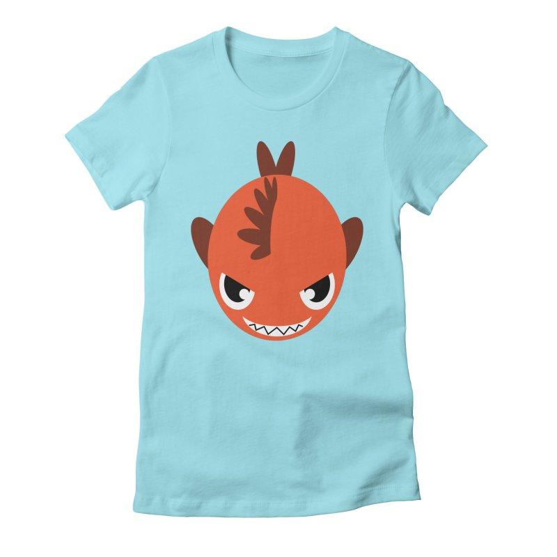 Orange piranha Women's Fitted T-Shirt by Kiemura Merchandise