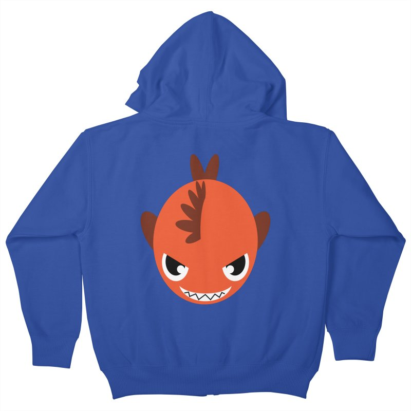 Orange piranha Kids Zip-Up Hoody by Kiemura Merchandise