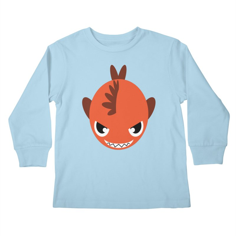 Orange piranha Kids Longsleeve T-Shirt by Kiemura Merchandise