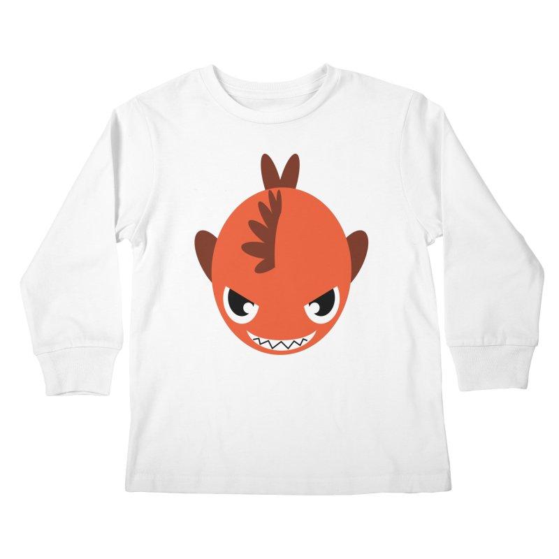 Orange piranha Kids Longsleeve T-Shirt by Kiemura Merchandise