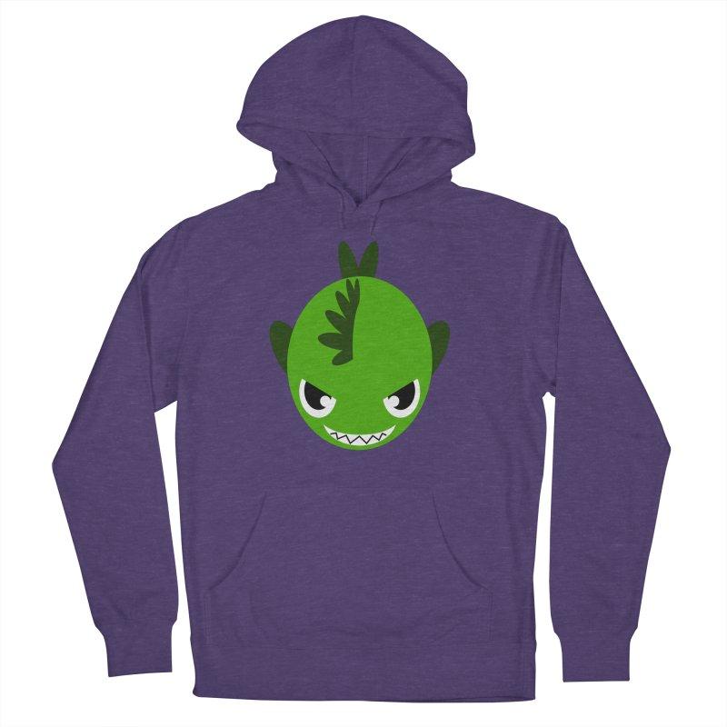 Green piranha Men's French Terry Pullover Hoody by Kiemura Merchandise