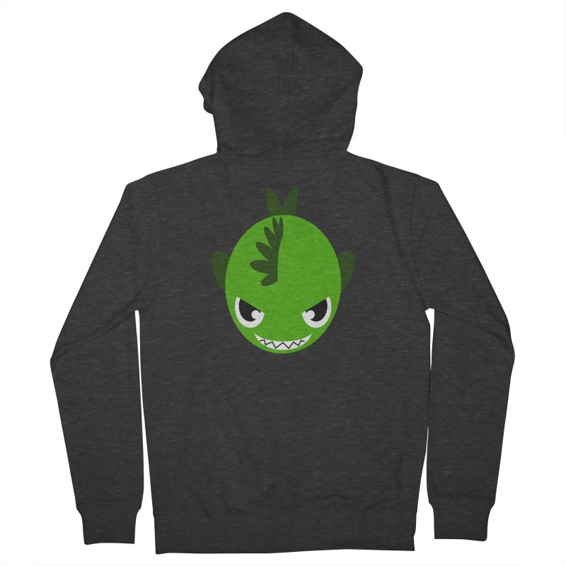 Green piranha Women's French Terry Zip-Up Hoody by Kiemura Merchandise