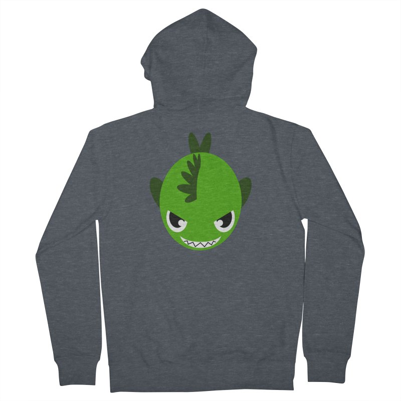 Green piranha Women's French Terry Zip-Up Hoody by Kiemura Merchandise