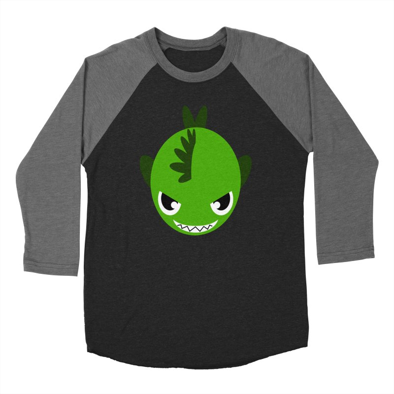 Green piranha Men's Baseball Triblend T-Shirt by Kiemura Merchandise