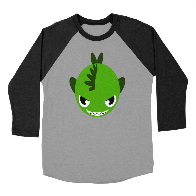 Green piranha Men's Baseball Triblend Longsleeve T-Shirt by Kiemura Merchandise