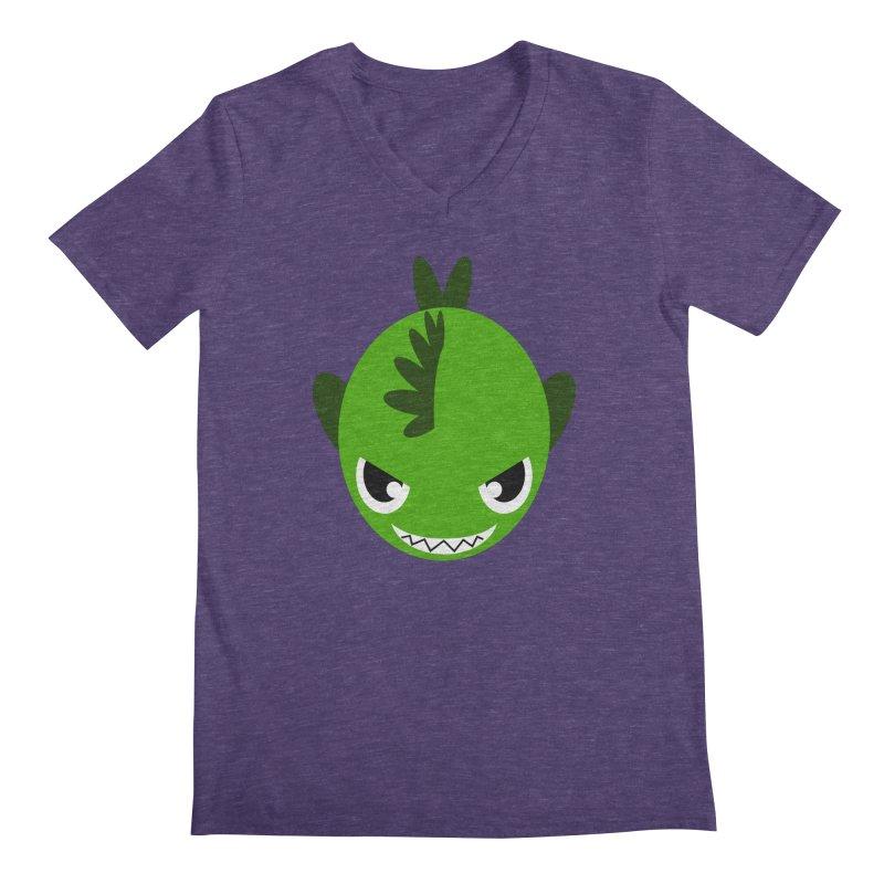 Green piranha Men's V-Neck by Kiemura Merchandise