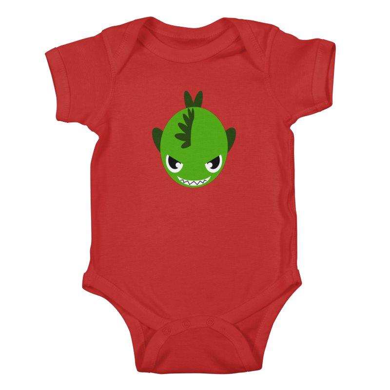 Green piranha Kids Baby Bodysuit by Kiemura Merchandise