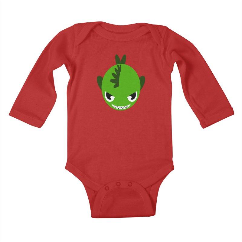 Green piranha Kids Baby Longsleeve Bodysuit by Kiemura Merchandise