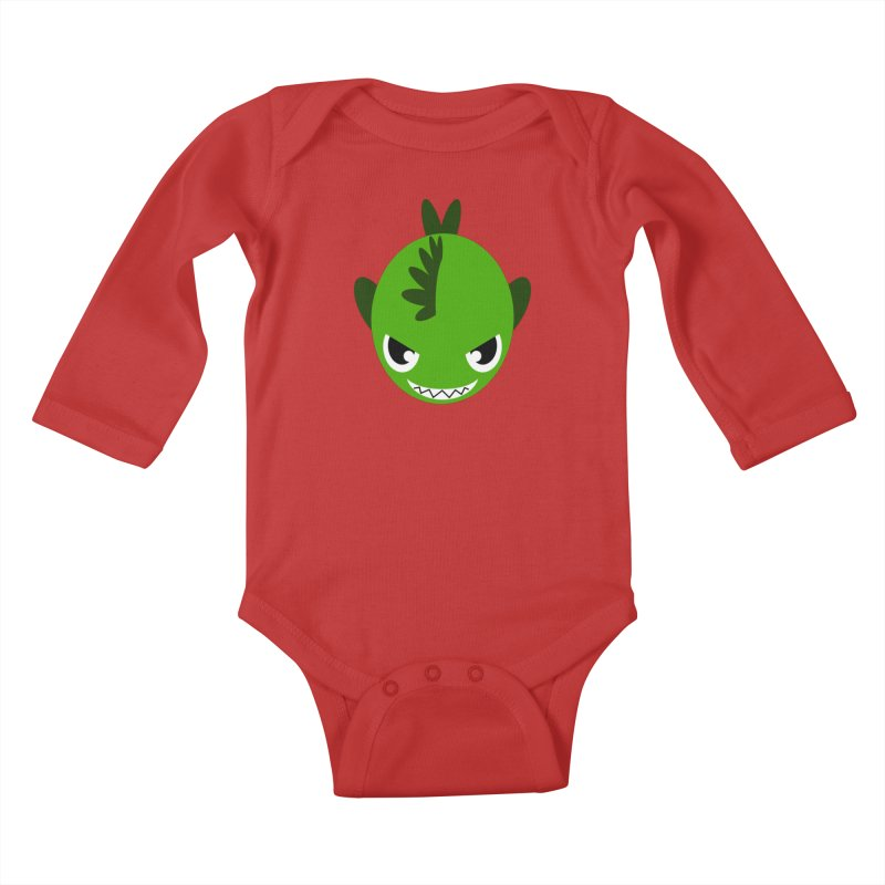 Green piranha Kids Baby Longsleeve Bodysuit by Kiemura Merchandise