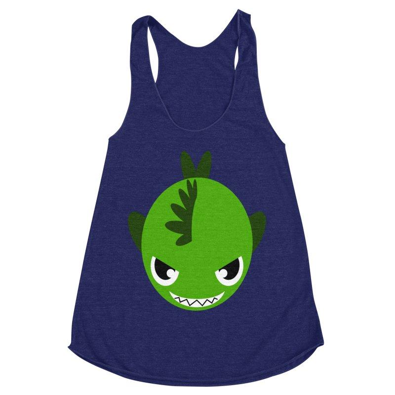 Green piranha Women's Racerback Triblend Tank by Kiemura Merchandise